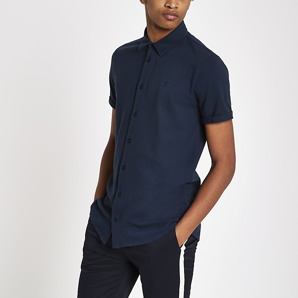 Navy muscle fit embroidered button-down shirt