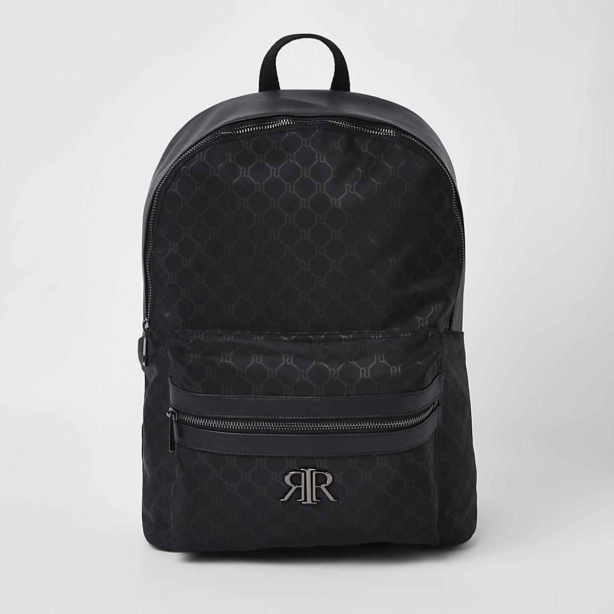 Sac à dos noir avec initiales RI