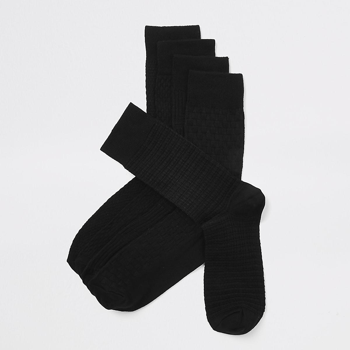 Lot de5 paires de chaussettes motif bambou noire