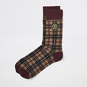 Brown RI plaid crest socks