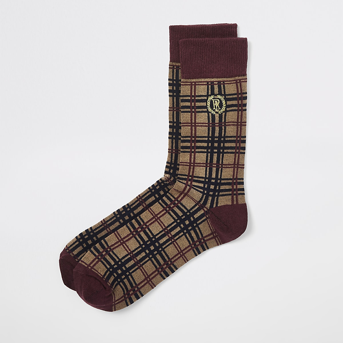 Brown RI tartan crest socks