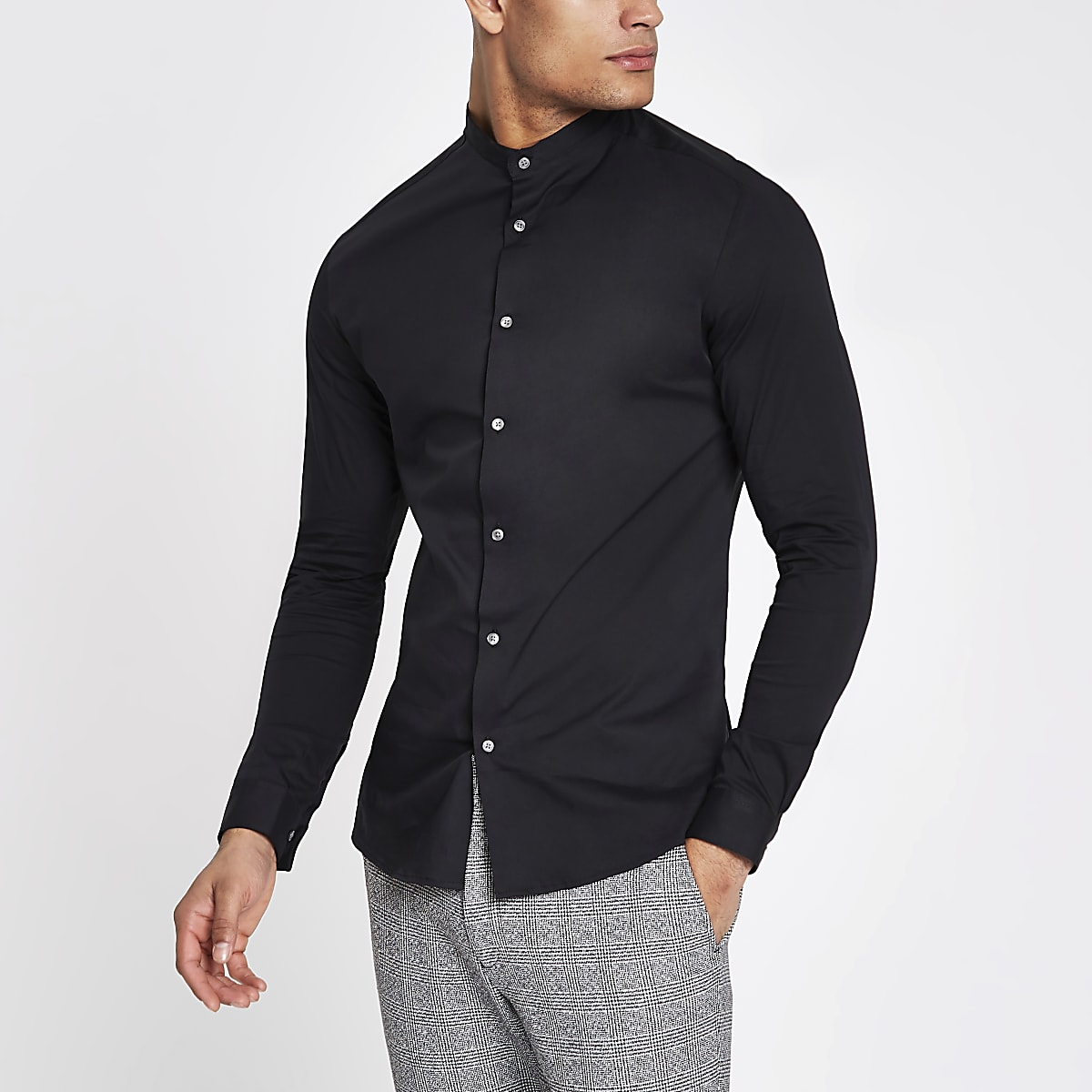 Black poplin grandad collar muscle fit shirt