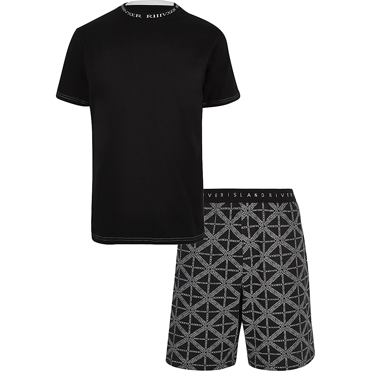 Black 'RI' print pajama shorts set
