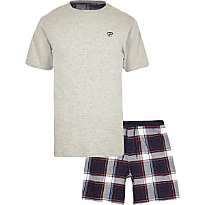 Grijze geruite pyjama met 'Prolific'-print