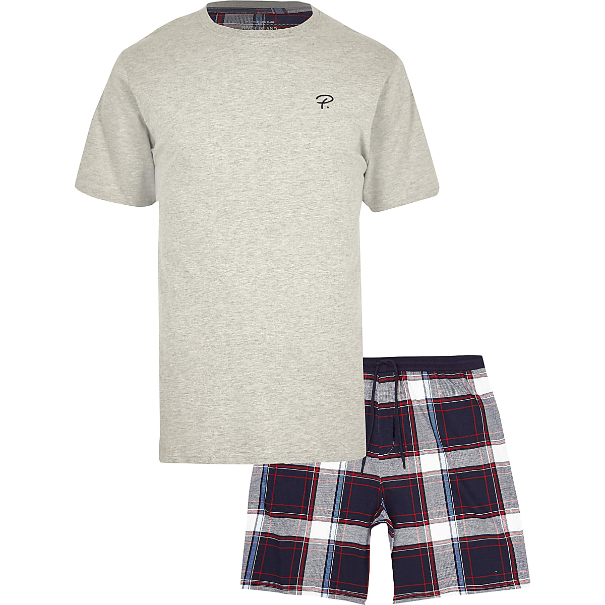 Grey 'Prolific' check pajama set