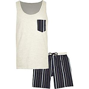 Pyjama court écru motif aztèque