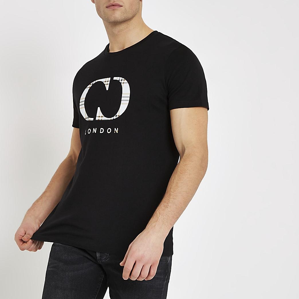 Criminal Damage black check logo T-shirt