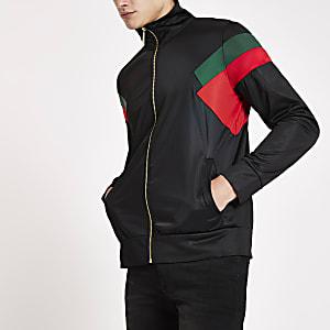Criminal Damage black colour block zip jacket