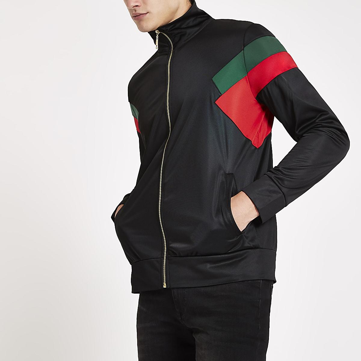 Criminal Damage black color block zip jacket