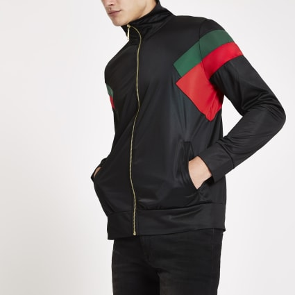 Criminal Damage black colour block zip jacket