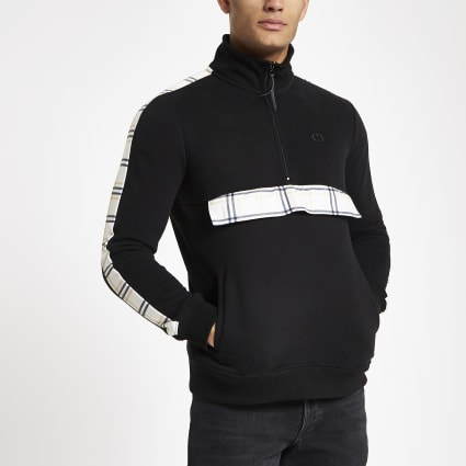 Criminal Damage black half zip track top