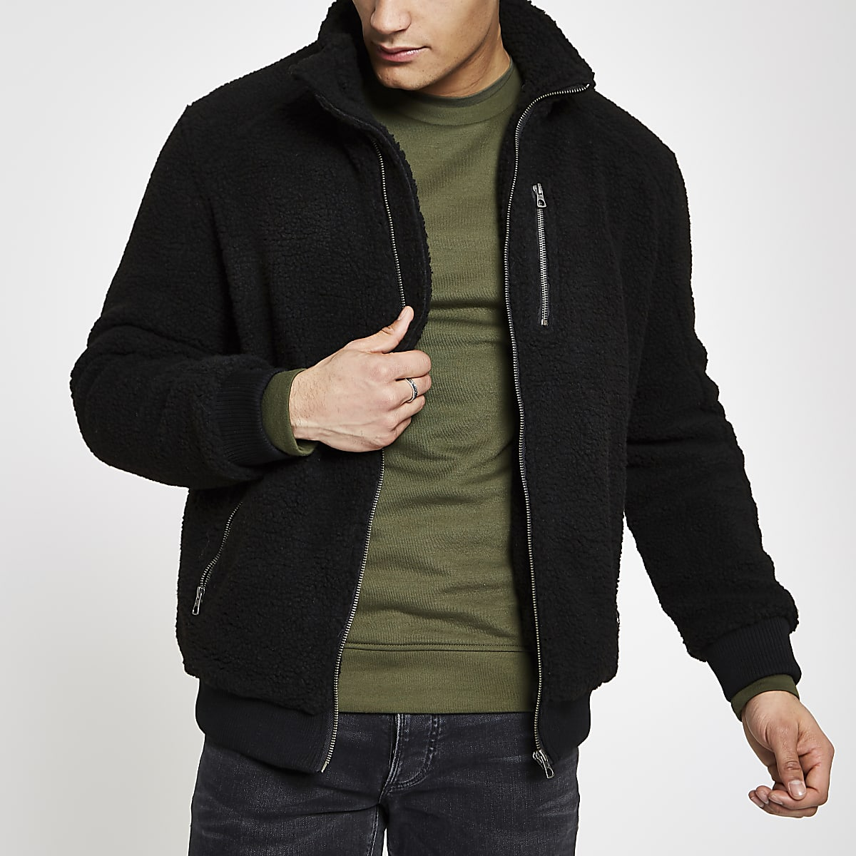 Only & Sons black borg zip front jacket