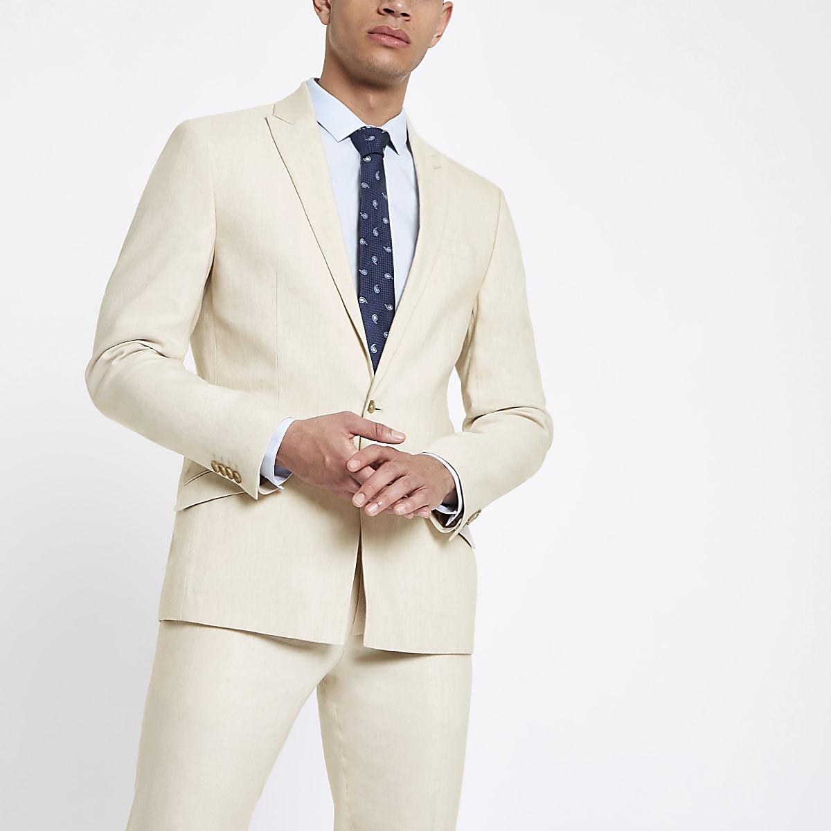 Ecru linen skinny suit jacket
