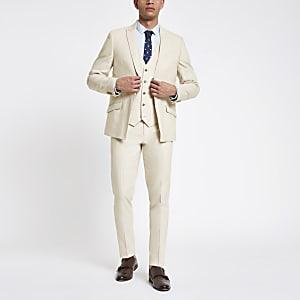 Ecru linen skinny suit pants