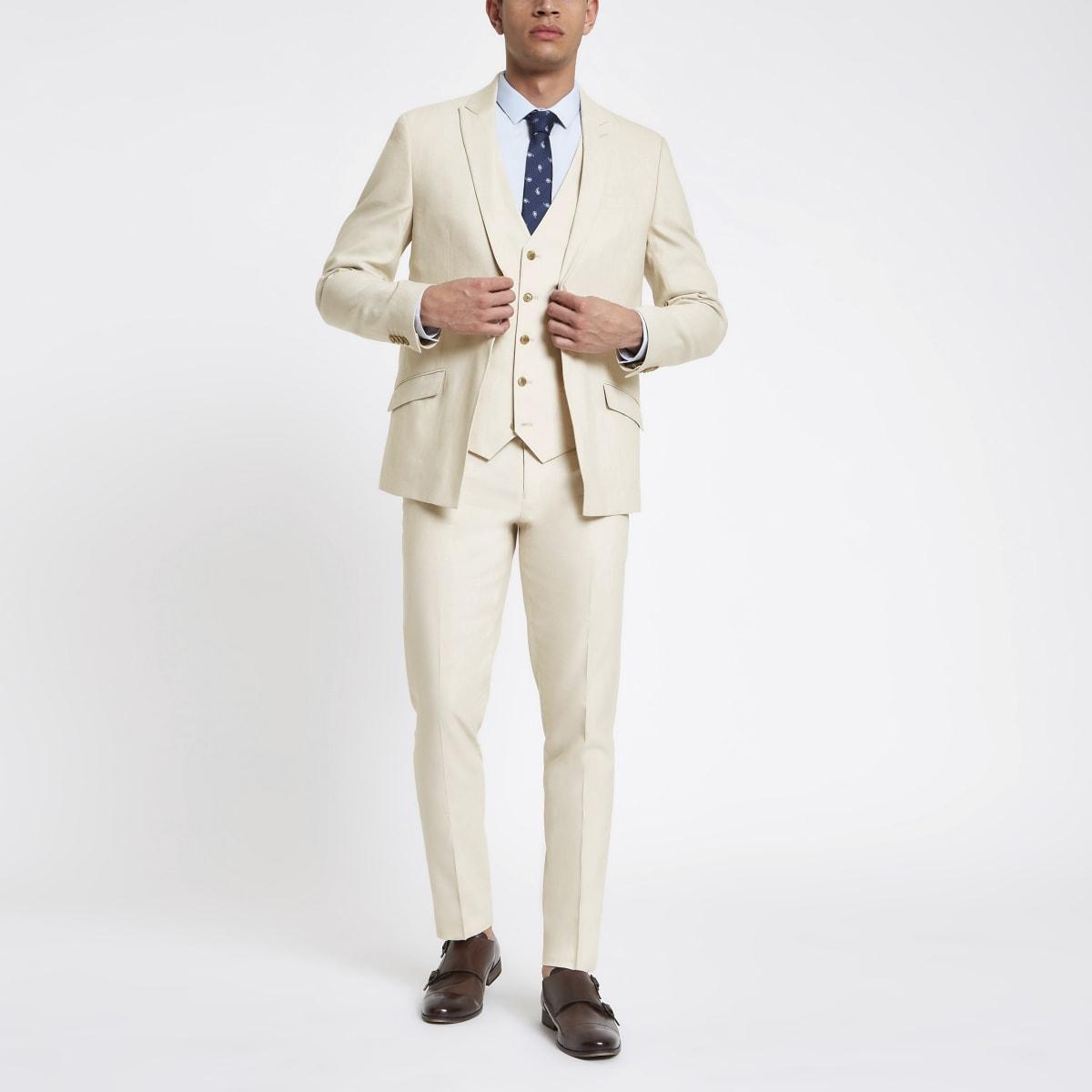 Pantalon de costume skinny en lin écru