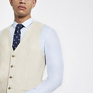 Ecru linen suit vest