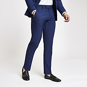 Blue stretch slim fit suit trousers