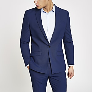 Felblauw slim-fit colbert met stretch