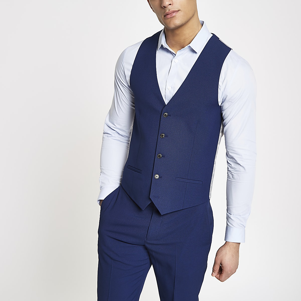 50-70% de réduction date de sortie plus près de Bright blue suit waistcoat