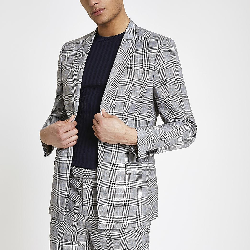 Veste de costume slim stretch à carreaux grise