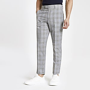 Grey check stretch slim fit suit pants