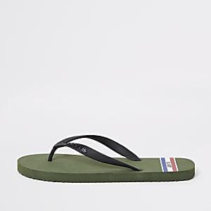 Levi's khaki sports flip flops