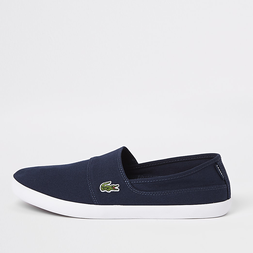 Lacoste navy slip on trainers