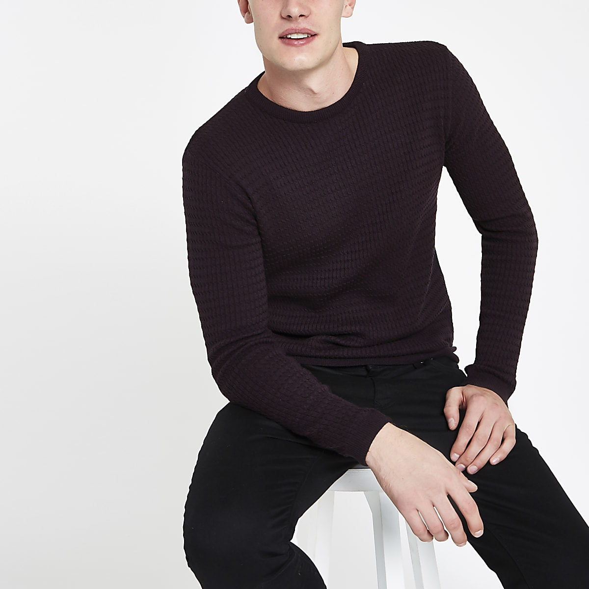 Dark purple cable knit muscle fit jumper