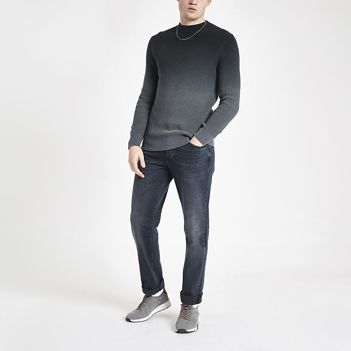 Grey ombre slim fit knit jumper