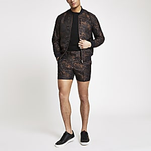 Braune, bedruckte Skinny Shorts