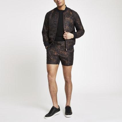 Brown printed skinny shorts