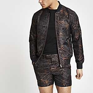 Brown printed skinny fit bomber jacket