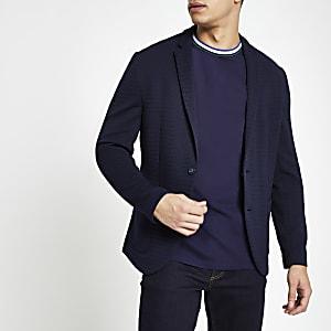 Marineblauwe gehaakte skinny-fit blazer
