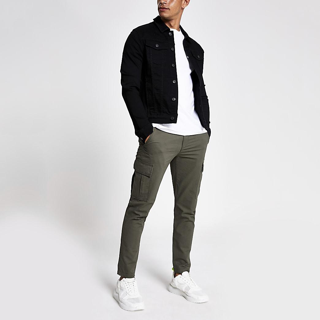 Black muscle fit denim jacket