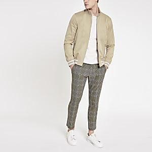 Steingraue Harrington-Jacke mit Zierstreifen