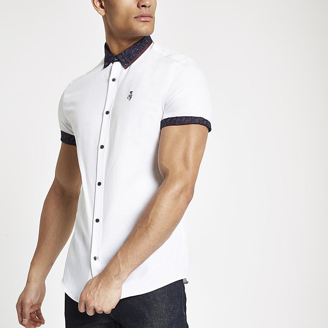 White paisley print collar button-down shirt
