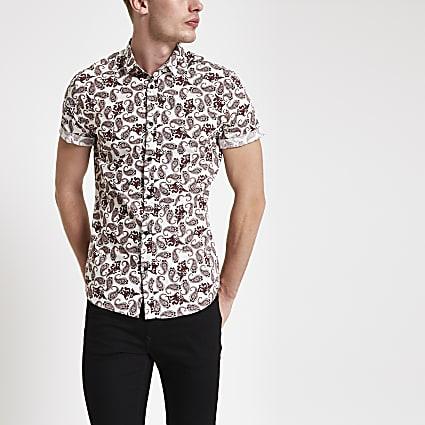 Burgundy paisley print short sleeve shirt