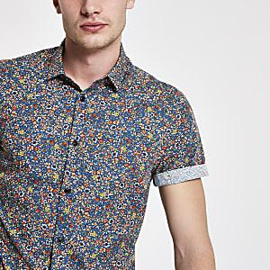 Blauw overhemd met fijne print en korte mouwen