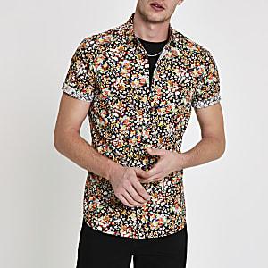 Zwart overhemd met fijne print en korte mouwen
