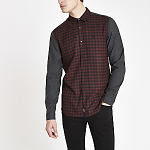 Chemise à carreaux contrastants rouge foncé