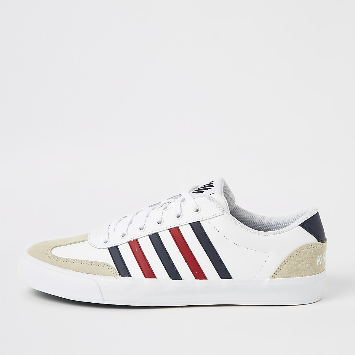 K-Swiss white leather stripe Addison sneakers