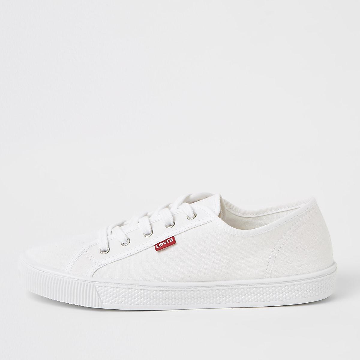 Levi's – Weiße Leinen-Sneaker zum Schnüren