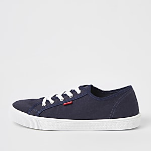 Levi's blue lace-up canvas trainers