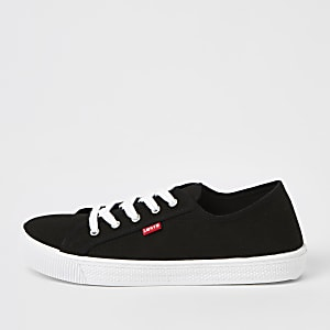 Levi's black lace-up canvas trainers