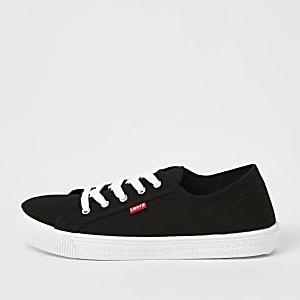 Levi's - Zwarte canvas vetersneakers