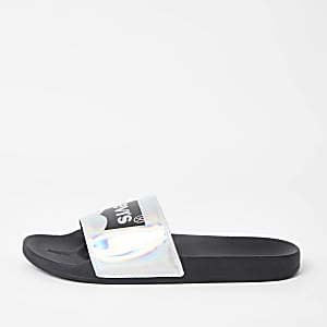 Levi's black holographic logo sliders