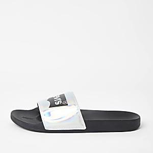 Levi's – Claquettes noires à logo holographique
