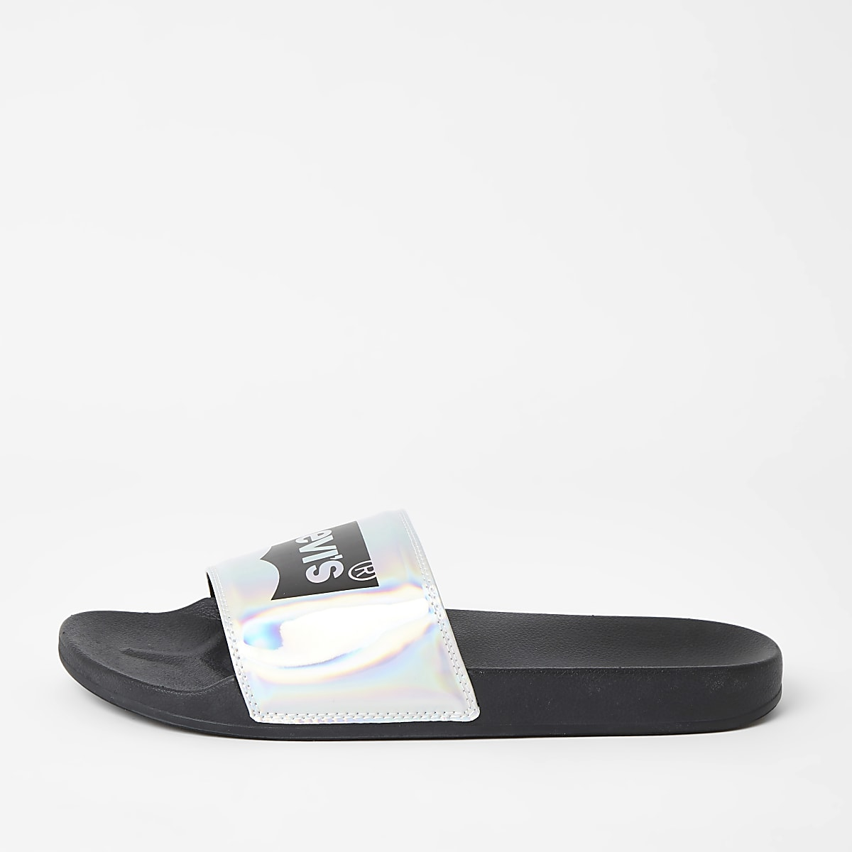 Levi's black holographic logo sliders