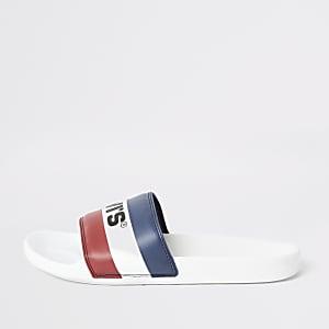 Levi's - Witte gestreepte slippers