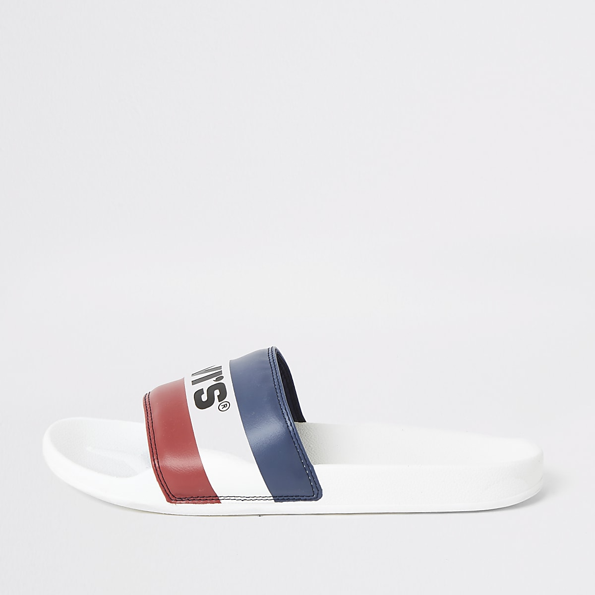 Levi's white stripe sliders